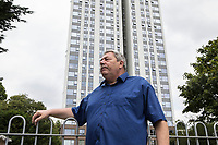 Bob O'Toole, head of the resident's association of Burnham Tower. Burnham Tower in Camden. It had a panel of cladding removed for testing due to the recent fire in Grenfell Tower.