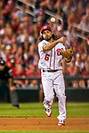 7 October 2017: Washington Nationals third baseman Anthony Rendon gets the first out of the 8th inning with a throw to first during the second NLDS game against the Chicago Cubs at Nationals Park in Washington, DC. The Nationals defeated the Cubs 6-3 and even their best of five Postseason series at one game apiece. Mandatory Credit: Ed Wolfstein Photo *** RAW (NEF) Image File Available ***