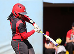 19 February 2017: Ohio State's Taylor White gets a hit. The Ohio State University Buckeyes played the University of Louisville Cardinals at Anderson Family Softball Stadium in Chapel Hill, North Carolina as part of the ACC/Big 10 College Softball Challenge. OSU won the game 4-3.