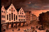 Frankfurt: Der Romerberg von J.L.E. Morgenstern, 1773. Reference only.