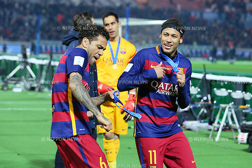 (L-R) Daniel Alves, Neymar (Barcelona), <br /> DECEMBER 20, 2015 - Football / Soccer : <br /> FIFA Club World Cup Japan 2015 <br /> award ceremony  <br /> at Yokohama International Stadium in Kanagawa, Japan.<br /> (Photo by Yohei Osada/AFLO SPORT)
