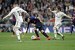 Real Madrid CF's Fede Valverde (L), Luka Modric and FC Barcelona's Luis Suarez during the King's Cup semifinals match. February 27,2019. (ALTERPHOTOS/Alconada)