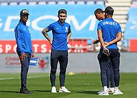 The Preston North End players inspect the pitch before kick off<br /> <br /> Photographer David Shipman/CameraSport<br /> <br /> The EFL Sky Bet Championship - Wigan Athletic v Preston North End - Monday 22nd April 2019 - DW Stadium - Wigan<br /> <br /> World Copyright © 2019 CameraSport. All rights reserved. 43 Linden Ave. Countesthorpe. Leicester. England. LE8 5PG - Tel: +44 (0) 116 277 4147 - admin@camerasport.com - www.camerasport.com