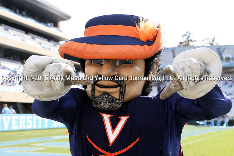 24 October 2015: The Virginia Cavalier mascot. The University of North Carolina Tar Heels hosted the University of Virginia Cavaliers at Kenan Memorial Stadium in Chapel Hill, North Carolina in a 2015 NCAA Division I College Football game. UNC won the game 26-13.