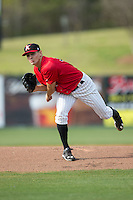 Kannapolis Intimidators starting pitcher Tanner Banks (30) follows through on his delivery against the Hickory Crawdads at Kannapolis Intimidators Stadium on April 10, 2016 in Kannapolis, North Carolina.  The Intimidators defeated the Crawdads 10-3.  (Brian Westerholt/Four Seam Images)