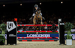 Roger-Yves Bost of France riding Nikyta d'Elle in action during the Laiterie De Montaigu Trophy as part of the Longines Hong Kong Masters on 14 February 2015, at the Asia World Expo, outskirts Hong Kong, China. Photo by Victor Fraile / Power Sport Images