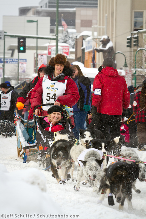 Silvia Furtwängler leaves the 2011 Iditarod ceremonial start line in downtown Anchorage, during the 2012 Iditarod..Jim R. Kohl/Iditarodphotos.com
