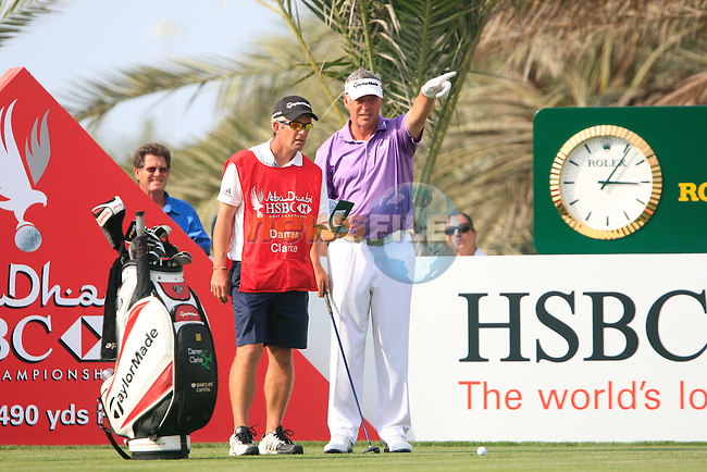 Darren Clarke prepares to tee off on the 14th tee during Thusday Day 1 of the Abu Dhabi HSBC Golf Championship, 20th January 2011..(Picture Eoin Clarke/www.golffile.ie)