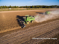 63801-08908 Soybean Harvest, 2 John Deere combines harvesting soybeans - aerial - Marion Co. IL