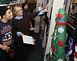 Judges: Lin-Manuel Miranda, Cate Blanchett and Josh Groban during the cast of 'Hamilton' 2016 Door Decorating Competition at Richard Rodgers Theatre on December 23, 2016 in New York City.