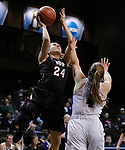 SIOUX FALLS, SD: MARCH 19: Lauren Wolosik #24 of Indiana (PA) shoots over Stonehill defender Kelsey Shaw #4 during their game at the 2018 Division II Women's Elite 8 Basketball Championship at the Sanford Pentagon in Sioux Falls, S.D. (Photo by Dick Carlson/Inertia)