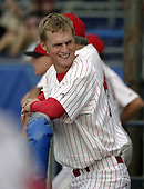 July 12, 2004:  Pitcher Kyle Kendrick of the Batavia Muckdogs, Short-Season Single-A affiliate of the Philadelphia Phillies, during a game at Dwyer Stadium in Batavia, NY.  Photo by:  Mike Janes/Four Seam Images