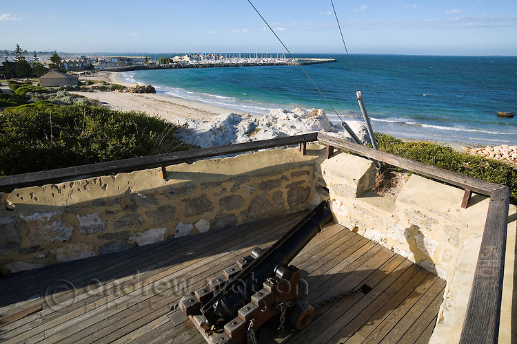 Gun placement at the Round House.  The building at Arthur Head is the oldest public building in WA, dating back to 1831 when it was used as a prison.  Fremantle, Western Australia, AUSTRALIA.