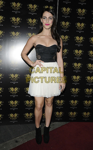 Jessica Lowndes<br /> The Lipsy VIP Fashion Awards 2013, DSTRKT, Rupert St., London, England.<br /> May 29th, 2013<br /> full length black strapless top cleavage skirt white hand on hip boots ankle <br /> CAP/CAN<br /> &copy;Can Nguyen/Capital Pictures
