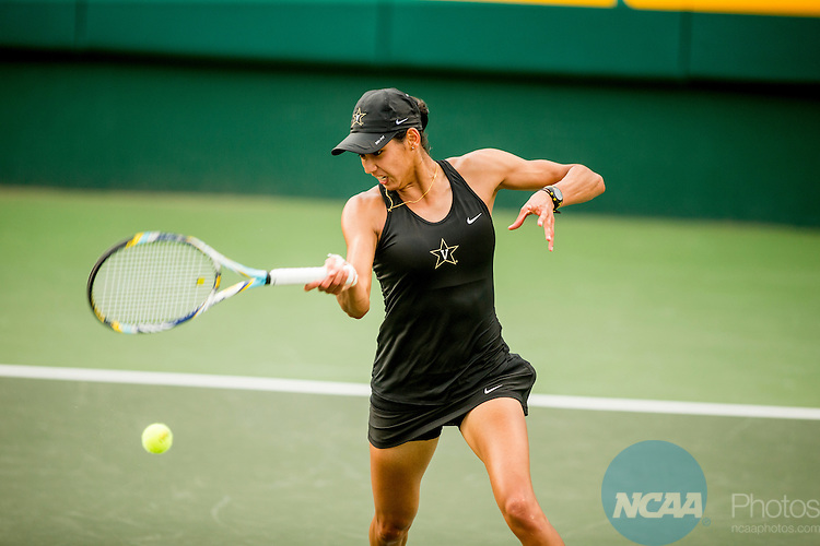 19 MAY 2015:  Astra Sharma hits a forehand in her match with Chanelle Van Nguyen at The Division I Women's Tennis Championship at the Hurd Tennis Center on the Baylor University campus in Waco, TX.  Vanderbilt defeated UCLA 4-2 to win the team national title.  Darren Carroll/NCAA Photos
