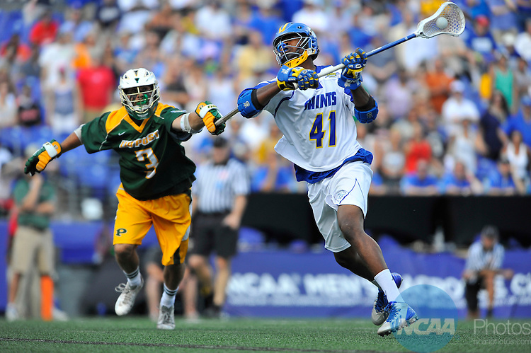 25 MAY 2014: Calyl Robinson (41) of Limestone College moves to shoot against Octavio Bernabo (3) of LIU Post during the Division II Men's Lacrosse Championship at M&T Bank Stadium in Baltimore, MD. Limestone defeated LIU 12-6 for the national title. Larry French/NCAA Photos