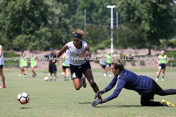 CARY, NC - MAY 10: Jessica McDonald (14) and Katelyn Rowland (right). The North Carolina Courage held a training session on May 10, 2017, at WakeMed Soccer Park Field 7 in Cary, NC.