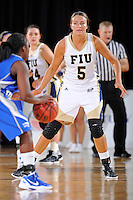 12 January 2012:  FIU guard Sasha Melnikova (5) defends in the second half as the Middle Tennessee State University Blue Raiders defeated the FIU Golden Panthers, 74-60, at the U.S. Century Bank Arena in Miami, Florida.