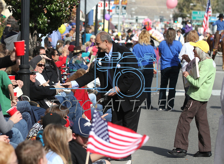 Indepedent gubernatorial candidate Gino DiSimone talks to the crowd during the Nevada Day parade on Saturday, Oct. 30, 2010, in Carson City, Nev. .Photo by Cathleen Allison