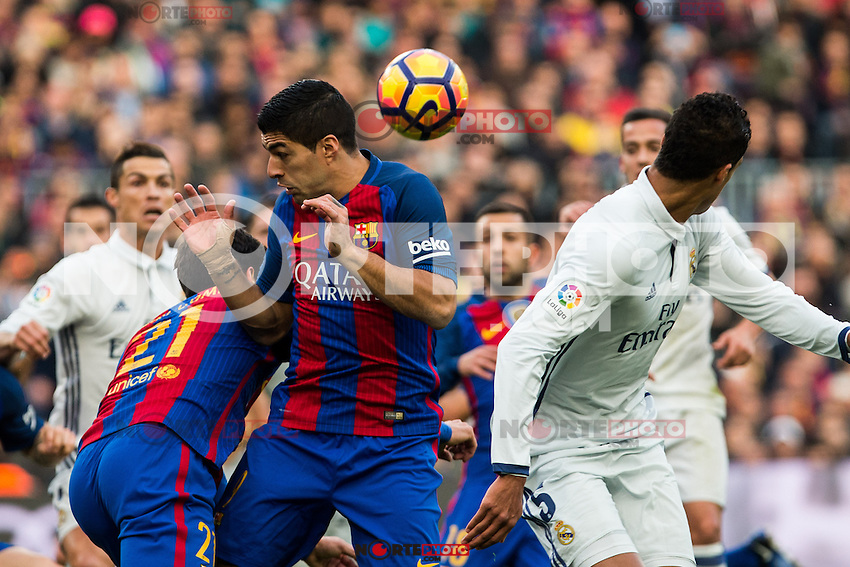 FC Barcelona's Luis Suarez , Real Madrid's Raphael Varane during spanish La Liga match between Futbol Club Barcelona and Real Madrid  at Camp Nou Stadium in Barcelona , Spain. Decembe r03, 2016. (ALTERPHOTOS/Rodrigo Jimenez) /NORTEPHOTO.COM