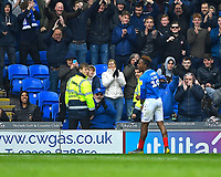 Jamal Lowe of Portsmouth celebrates with the Portsmouth fans after scoring the fourth goal during Portsmouth vs Rochdale, Sky Bet EFL League 1 Football at Fratton Park on 13th April 2019