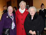 Dolores Murray, Nancy Murray and Jenny Heeney pictured at the Mass of Thanksgiving at Our Lady of Lourdes Church celebrating 200 years in education of the Presentation Community in Drogheda. Photo:Colin Bell/pressphotos.ie