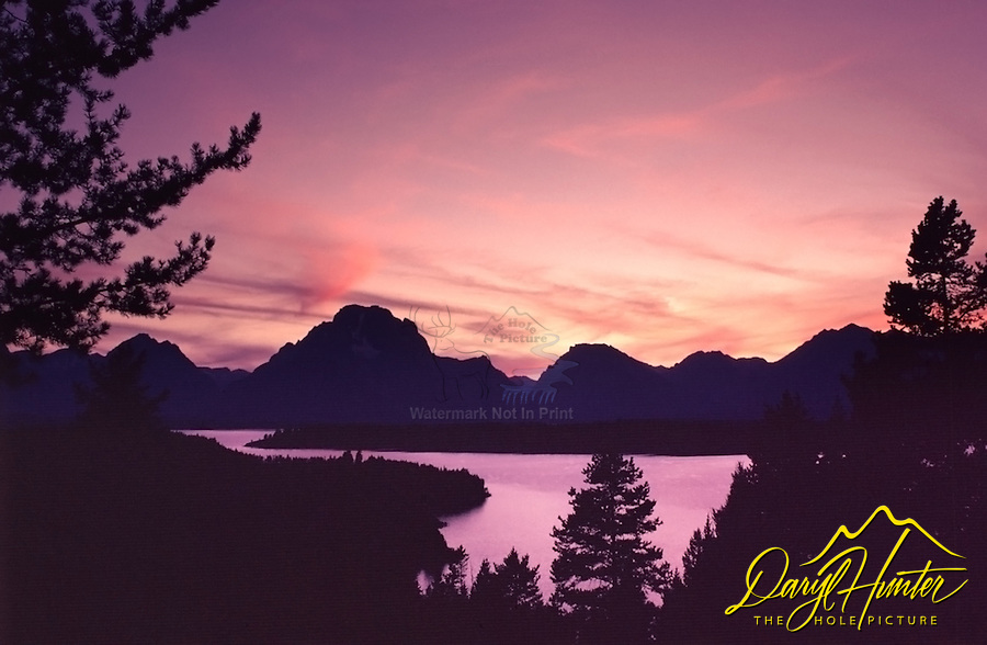 Sunset, Jackson Lake, Grand Teton National Park<br /> <br /> For production prints or stock photos click the Purchase Print/License Photo Button in upper Right; for Fine Art &quot;Custom Prints&quot; contact Daryl - 208-709-3250 or dh@greater-yellowstone.com