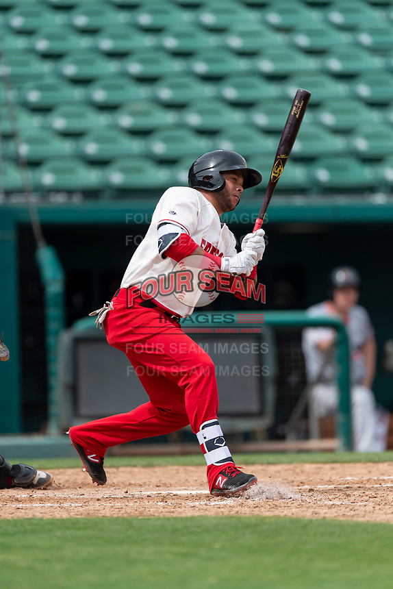 Fresno Grizzlies outfielder Yadiel Hernandez (13) batting during a game against the Reno Aces at Chukchansi Park on April 8, 2019 in Fresno, California. Fresno defeated Reno 7-6. (Zachary Lucy/Four Seam Images)