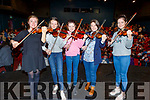 Kerry Pops Orchestra members Clodagh Gaynor, Clíona and Éabha Lynch, Mairead Fitzmaurice and Kate Lynch performing on stage in Siamsa Tire on Thursday at their first ever School of Music Hours series.