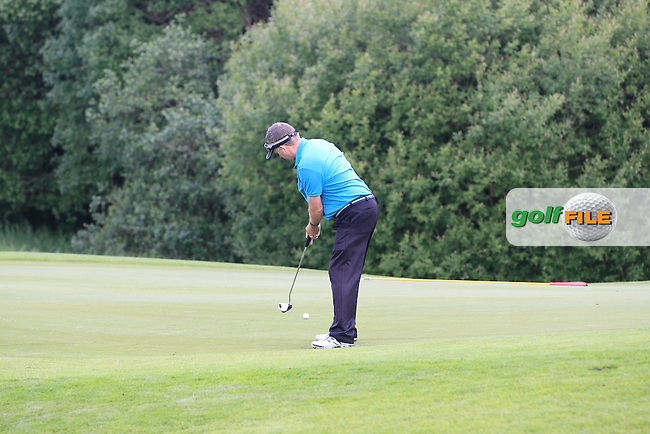 Sean Alley (Co.Tipperary) on the 1st green during Round 1 of the Irish Mid-Amateur Open Championship at New Forest on Saturday 20th June 2015.<br /> Picture:  Thos Caffrey / www.golffile.ie