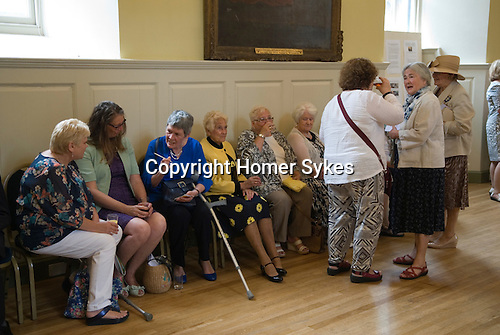Jankyn Smyth Cake and Ale ceremony at the Guildhall Bury St Edmunds Suffolk 2015. <br /> <br /> There are over 30 residents of the Guildhall Feoffment Almshouses in Bury St Edmunds, and they along with guests and Trustees celebrate the towns  great benefactor Jankyn Smyth each June.