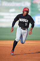 Chattanooga Lookouts right fielder Edgar Corcino (11) runs the bases during a game against the Jackson Generals on April 29, 2017 at The Ballpark at Jackson in Jackson, Tennessee.  Jackson defeated Chattanooga 7-4.  (Mike Janes/Four Seam Images)