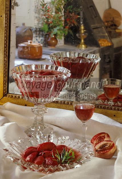 Europe/France/89/Bourgogne/Yonne/Chablis: Pêches rôties au ratafia - vieux vin de liqueur.