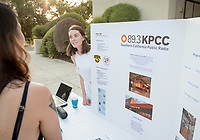 Laura Scott was an intern at KPCC. Career Services hosts the Summer Experience Expo, where Occidental College student interns from the InternLA program and INT Internship course shared information about the organizations they worked for over the summer. Sept. 7, 2017 at Thorne Hall patio. Employers were also in attendance.<br /> (Photo by Marc Campos, Occidental College Photographer)