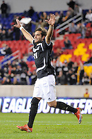 Giuseppe Guerriero (11) of the Providence Friars celebrates the team's first goal during the semi-finals of the Big East Men's Soccer Championship against the Cincinnati Bearcats at Red Bull Arena in Harrison, NJ, on November 12, 2010.