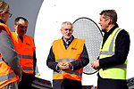 Pictured:  Labour leader Jeremy Corbyn speaking to Julian Brown (right), UK Country Manager for MHI Vestas during his visit to the Fawley Power Station.<br /> <br /> Labour Leader Jeremy Corbyn to visits a wind turbine facility in Southampton today, Wednesday.  <br />  <br /> On a visit to a wind turbine logistics facility in Southampton, Leader of the Labour Party Jeremy Corbyn MP will set out how Labour's policy to invest in green energy will create jobs and benefit coastal communities across the UK. <br /> <br /> © Roger Arbon/Solent News & Photo Agency<br /> UK +44 (0) 2380 458800