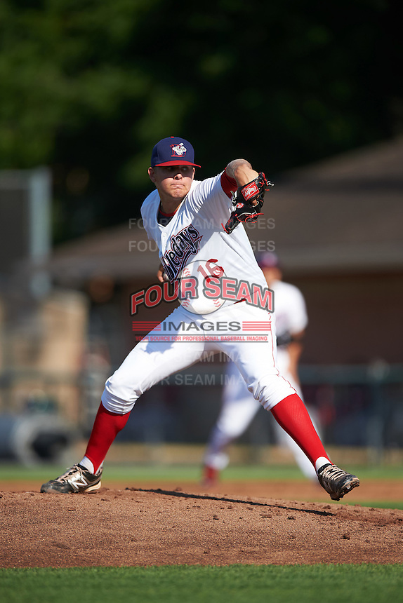 Auburn Doubledays starting pitcher Weston Davis (16) during a game against the Mahoning Valley Scrappers on July 17, 2016 at Falcon Park in Auburn, New York.  Mahoning Valley defeated Auburn 3-2.  (Mike Janes/Four Seam Images)