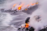 Sunset, Wave, Ili' ili lava flow ocean entry at what use to be Fox's Landing black sand beach on Hakuma Horst, Lava flow in the trees, Near Hawaii, USA Volcanoes National Park, Kalapana, Hawaii, USA, The Big Island of Hawaii, USA