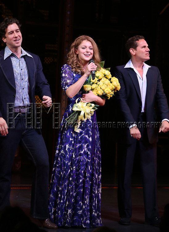 Melissa Benoit with Evan Todd and Paul Anthony Stewart during her Opening Night debut bows in 'Beautiful-The Carole King Musical' at the Stephen Sondheim on June 12, 2018 in New York City.
