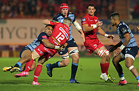 Scott Williams of the Scarlets (12) is brought to the ground by Willis Halaholo of Cardiff Blues (L) during the Guinness PRO14 match between Scarlets and Cardiff Blues at Parc Y Scarlets Stadium, Llanelli, Wales, UK. Saturday 28 October 2017