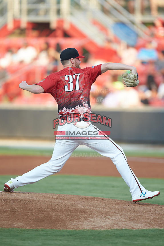 Cam Roegner (37) of the Carolina Mudcats in action against the North Division during the 2018 Carolina League All-Star Classic at Five County Stadium on June 19, 2018 in Zebulon, North Carolina. The South All-Stars defeated the North All-Stars 7-6.  (Brian Westerholt/Four Seam Images)