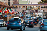 Cars crowd the street of the historic Cannery Row, Monterey, California
