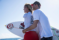 /NAMOTU, Fiji (Tuesday, May 30, 2017) Bethany Hamilton (HAW) with her husband Adam Dirks (USA) - The Outerknown Fiji Women&rsquo;s Pro, Stop No. 5 on the 2017 World Surf League (WSL) Championship Tour (CT), got underway today with Round 1 starting at 8:05 a.m. local time at Cloudbreak in building three-to-four foot surf.<br /> <br /> The conditions had definitely improved at Cloudbreak overnight and organisers pressed right through the day to complete Rounds 1,2 and 3. Conditions varied because of the winds and the tide with long lulls around the afternoon low tide. Completion wrapped up at 5pm local time.<br />  Photo: joliphotos.com
