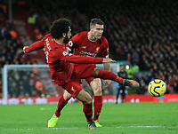 2nd January 2020; Anfield, Liverpool, Merseyside, England; English Premier League Football, Liverpool versus Sheffield United; Mohammed Salah of Liverpool volleys the ball at goal - Strictly Editorial Use Only. No use with unauthorized audio, video, data, fixture lists, club/league logos or 'live' services. Online in-match use limited to 120 images, no video emulation. No use in betting, games or single club/league/player publications