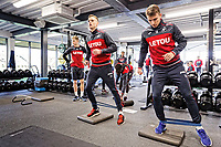 (L-R) Andy King and Tom Carroll exercise in the gym during the Swansea City Training and Press Conference at The Fairwood Training Ground, Swansea, Wales, UK. Thursday 01 February 2018