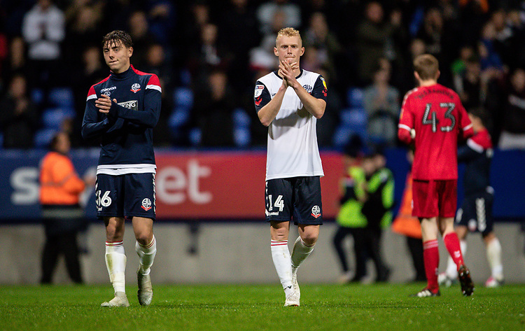 Bolton Wanderers' Callum King-Harmes and James Weir (right) applaud the fans at the end of the match <br /> <br /> Photographer Andrew Kearns/CameraSport<br /> <br /> EFL Leasing.com Trophy - Northern Section - Group F - Bolton Wanderers v Bradford City -  Tuesday 3rd September 2019 - University of Bolton Stadium - Bolton<br />  <br /> World Copyright © 2018 CameraSport. All rights reserved. 43 Linden Ave. Countesthorpe. Leicester. England. LE8 5PG - Tel: +44 (0) 116 277 4147 - admin@camerasport.com - www.camerasport.com