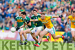 Brian Ó Beaglaoich, Kerry in action against Ross Ryan, Meath during the Football All-Ireland Senior Championship Quarter-Final Group 2 Phase 3 match between Kerry and Meath at Páirc Tailteann, Navan on Saturday.