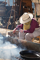 In October, the 22nd Annual Lincoln County Cowboy Symposium brought together  chuckwagon crews and cooks from ranches all over the southwest to compete in preparing food for a hungry crowd. The Rocking Double R Chuckwagon owned by Russ and Susan Richins of Phoenix features a smoky kitchen.
