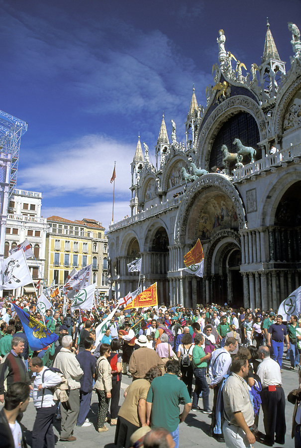 Election supporters rally in front of Saint Mark's Basilica in Saint Mark's Square (Piazza San Marco), Venice, Italy