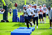 July 28, 2017: New England Patriots running back Brandon Bolden (38) works on a footwork drill at the New England Patriots training camp held at Gillette Stadium, in Foxborough, Massachusetts. Eric Canha/CSM